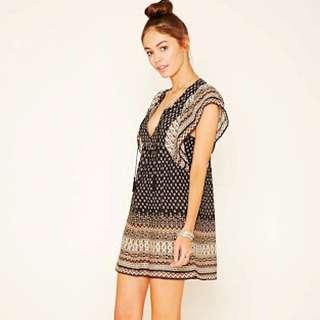 NEW Forever 21 Ornate Print Peasant Dress Size M