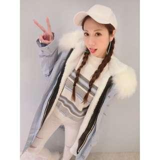 全新轉賣nunu 超級大毛 淡藍色長版N3B大衣外套