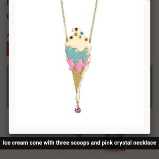 Les Nereides Necklace Ice Cream Cone With Three Scoops And Pink Crystal