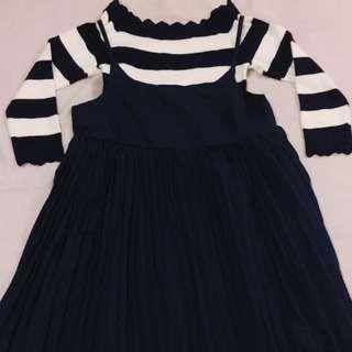 (保留中)兩件式 百褶洋裝