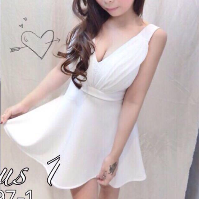 🎀蕾絲雪紡露背洋裝白色