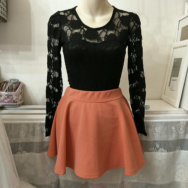 韓。氣質甜美粉橘裙