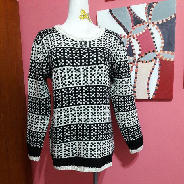 黑白復古針織毛衣