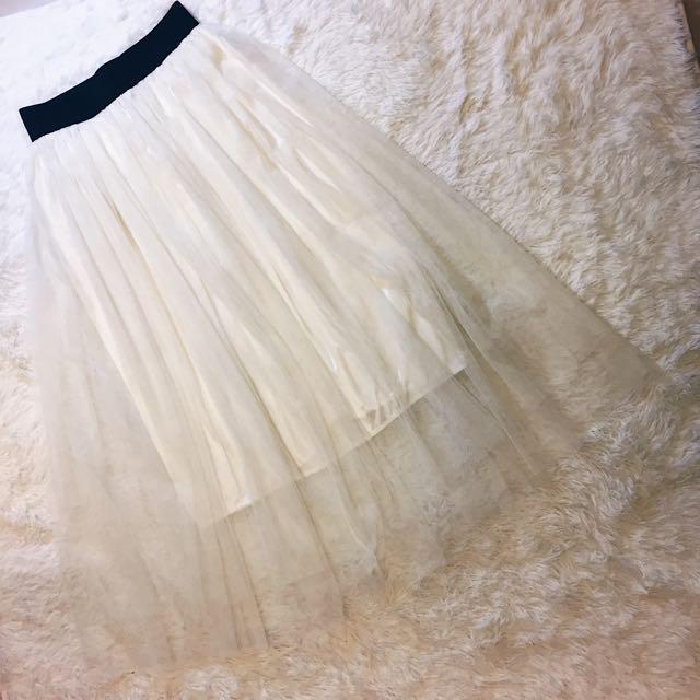 白色蕾絲長紗裙