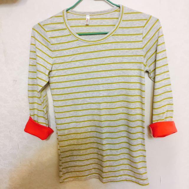 綠條紋棉長袖上衣
