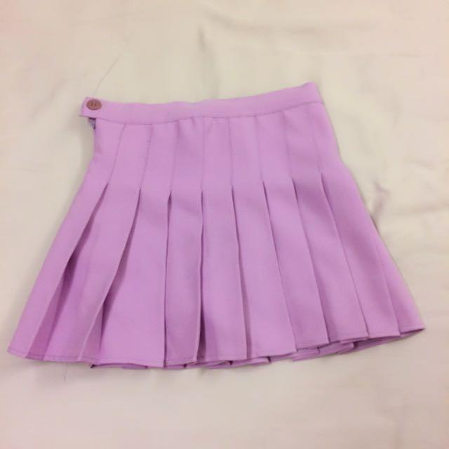 紫色百褶褲裙
