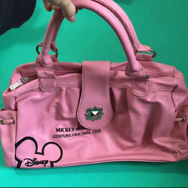 迪士尼 粉紅色側背包