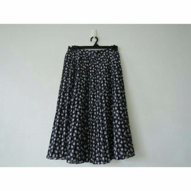 日本製 深藍小花優雅百褶雪紡過膝裙
