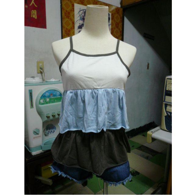 [近新] 細肩帶蛋糕小可愛背心上衣 短洋裝 + 短袖短版小外套 二件式上衣