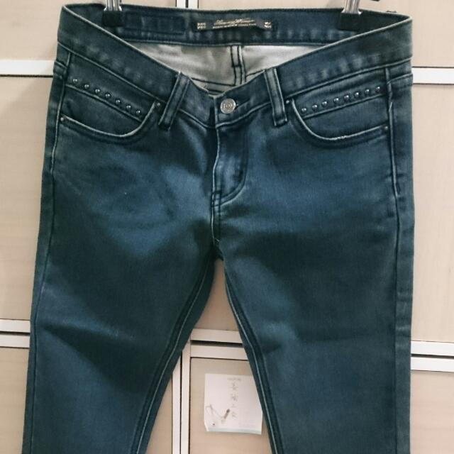 二手 藍 藍色 窄管 牛仔 單寧 長褲 牛仔褲 單寧褲 牛仔長褲 單寧長褲 窄管褲 窄管長褲