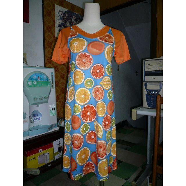 [全新] Hang Ten 水果圖橘色細肩帶洋裝 柔滑感洋裝