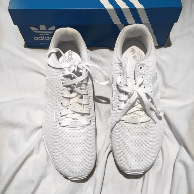 ADIDAS White ZX Flux Shoes