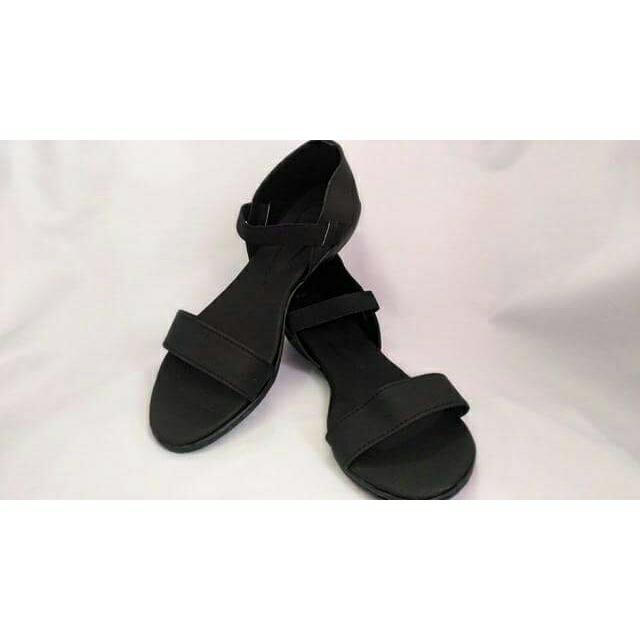 All Black Flat Garter Sandals