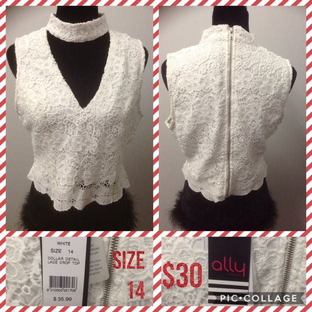 Ally Lace Collar Crop Top