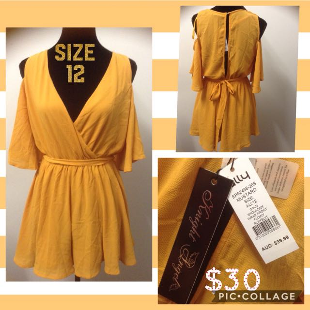 Ally Mustard Cold Shoulder Playsuit Size