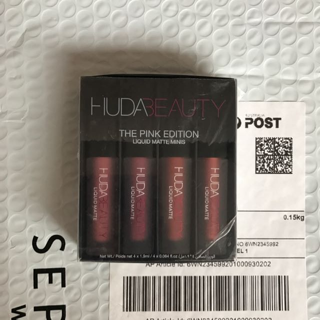 AUTHENTIC Pink Huda Beauty Liquid Matte Lipstick Mini Set