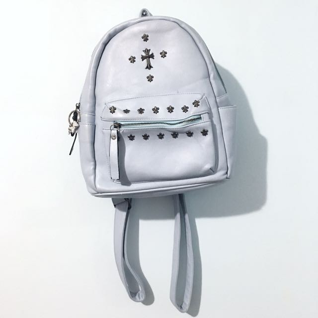 Baby-blue Faux Leather Backpack