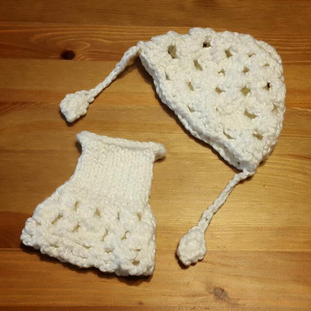 Blythe 碧麗絲 娃衣~手織純白毛線帽+一字領洋裝