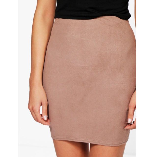 boohoo suede skirt