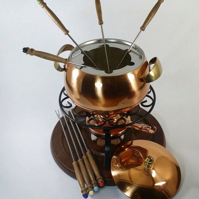 Bronze Fondue Set W/ Tray