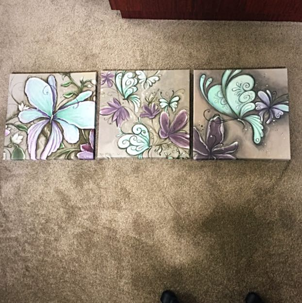 Canvas Paintings 40x40cm Green And Purple
