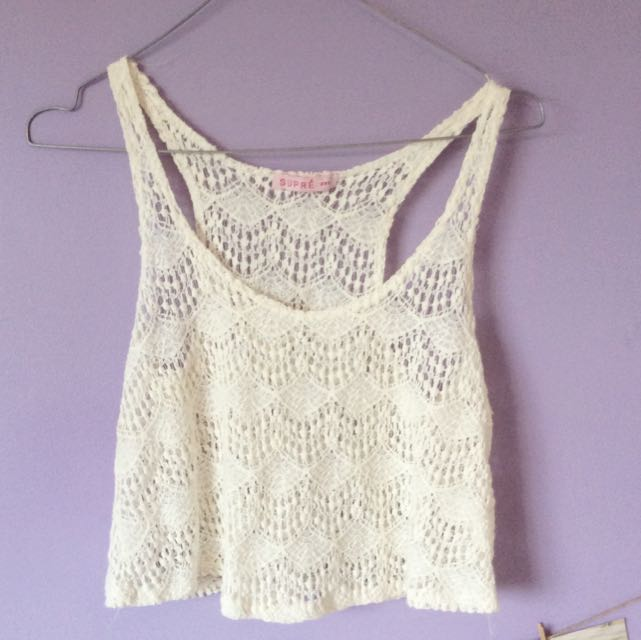 Cream/white Lace Cover Up Or Crop Top