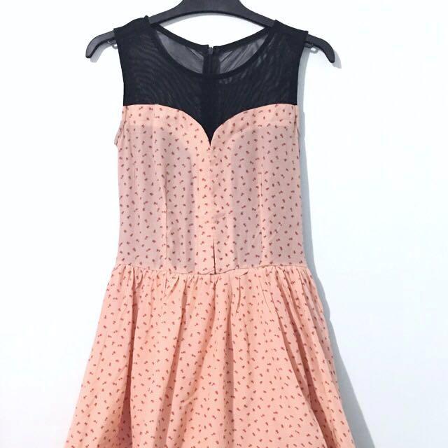 Pink Floral Sheer Dress
