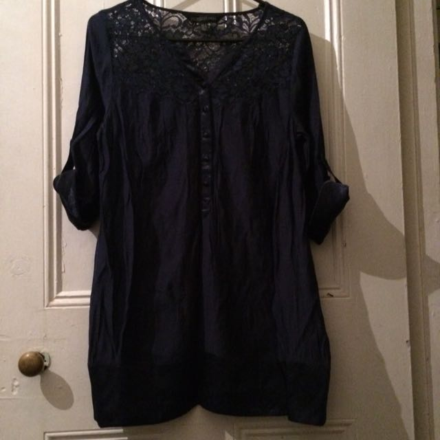 Forever New Dark Blue Shift Dress with Sheer Blue Lace Top and Satin Detail including Buttons, Size 8