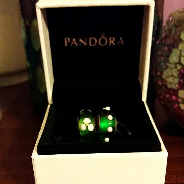 Green Pandora Murano Glass Beads