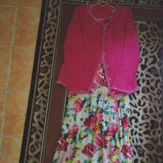 Longdress Flower With Pink Cardi
