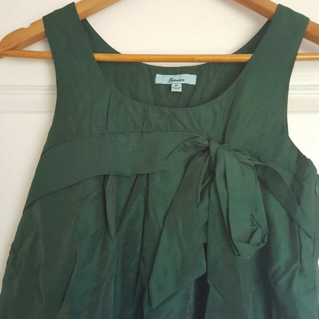 MOROCCO Dark Green Tunic Shift Dress Size M