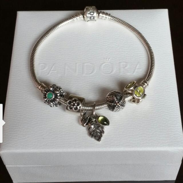 Pandora Barrel Clasp Bracelet & 5 Charms