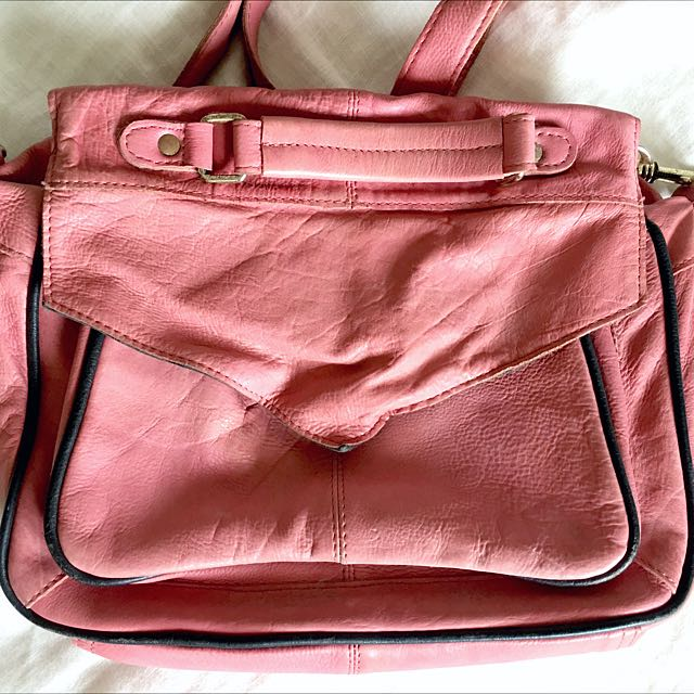 Pink Leather Top Shop Handbag