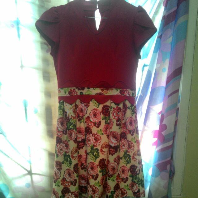 Preloved Dress Red Flower