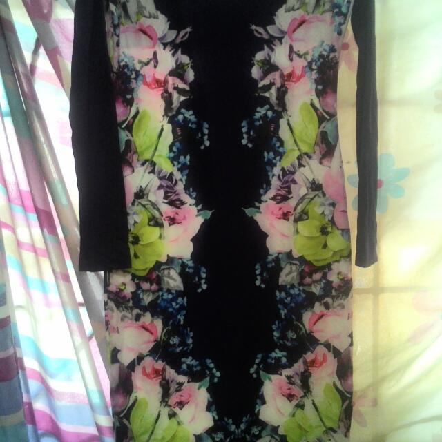 Preloved Long Maxi Dress Blue Floral