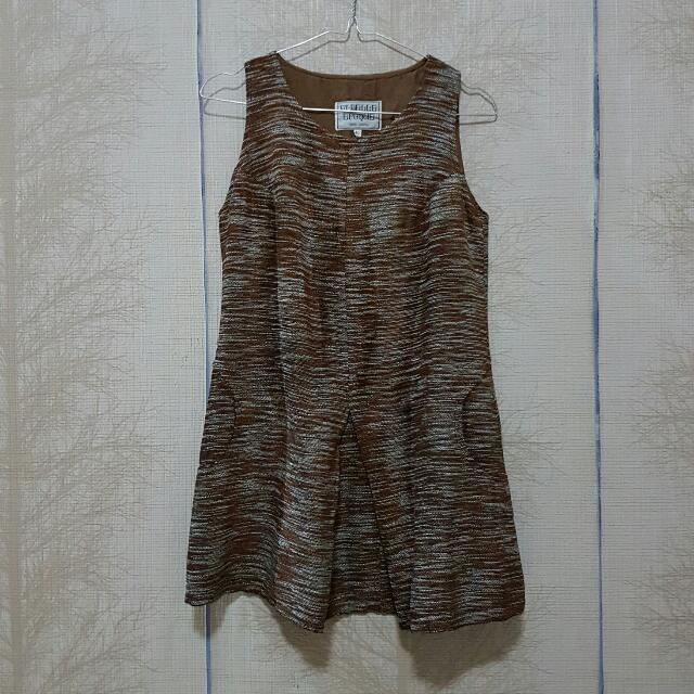 ON SALE !! TEXTURED BROWN DRESS