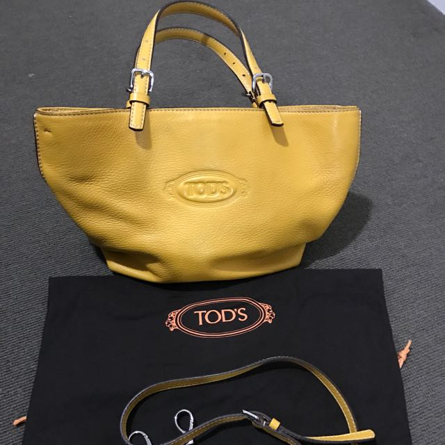 Tods Yellow Curry Small Tote