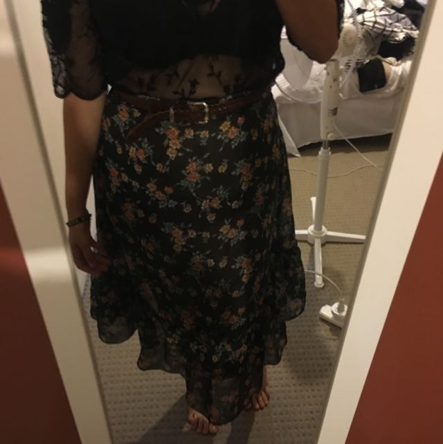 Vintage Midlength Floral Skirt