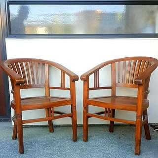 Two Teak Wood Chairs