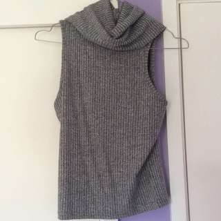 Ribbed Grey Turtle Neck Top Temt