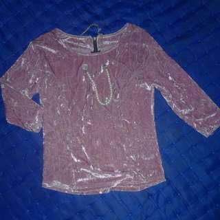 Baju pink Beludru Top