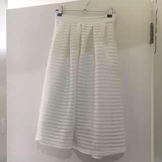Misguided White Midi Skirt