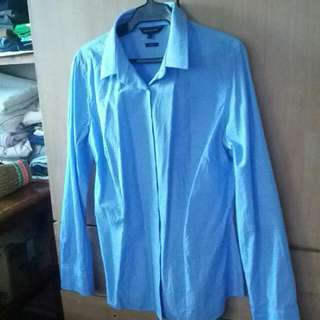 Office Blouse Long sleeve Baby Blue