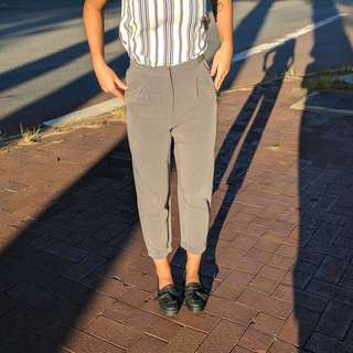 Grey Cigarette Pants