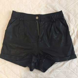 High Waisted Mink Pink Pleather Shorts