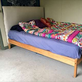 Double Bed With Handmade Linen Bedhead