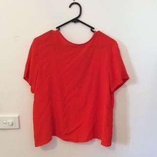 Asos Orange T-shirt Open Back - Size M