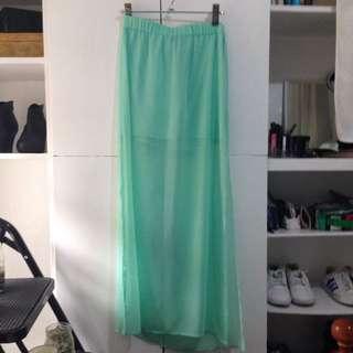 Green Half See Through Skirt