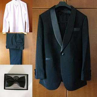 Tuxedo Formal Black Tie Event Suit Wing Tip White Shirt And Bow Tie For RENT