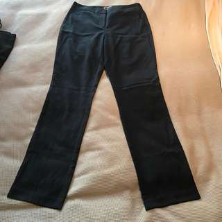 Basque Tailored Pant New Black Blue Size 10 Corporate Trousers